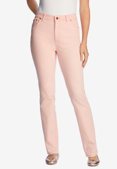 Straight Leg Stretch Jean, PINK PEACH