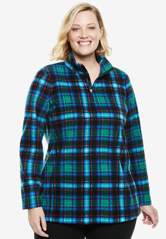 Quarter-Zip Microfleece Pullover, BLUE PLAID