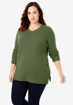 Button V-Neck Sweater, FOREST GREEN