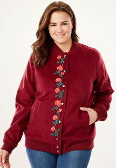 Wool-Blend Bomber Jacket, RICH BURGUNDY, hi-res