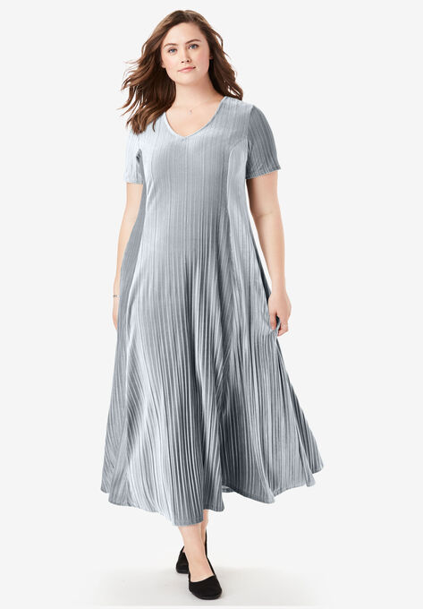 Pleated Velour Dress| Plus Size Special Occasion Dresses | Woman Within