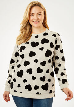 Flocked-Shapes French Terry Sweatshirt, HEATHER OATMEAL BLACK HEART
