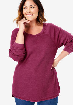 Raglan Washed Thermal Sweatshirt, DEEP CRANBERRY
