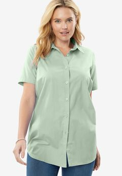 Perfect Short Sleeve Button Down Shirt, ICE JADE, hi-res