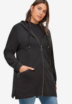 Zip-Front Hoodie With Zip Pockets,