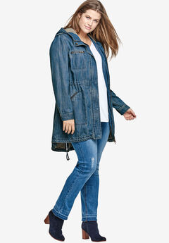 Hooded Anorak Denim Jacket by ellos®, MEDIUM STONEWASH, hi-res