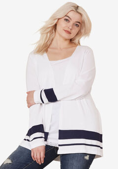 Fine Gauge Button Cardigan by ellos®, WHITE NAVY STRIPE, hi-res