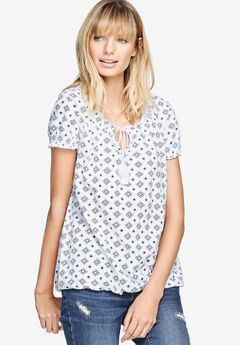 Printed Peasant Blouson Tee by ellos®, WHITE DIAMOND PRINT, hi-res