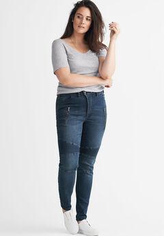 Moto Skinny Jeans by ellos®, DARK BLUE SANDED