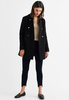 Gold Button A-line Wool-Blend Coat by ellos®, BLACK