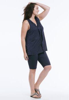 Stretch Twill Bike Shorts by ellos®, NAVY, hi-res