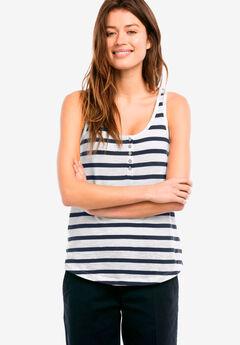 Sleeveless Knit Henley Tank by ellos®, NAVY/WHITE STRIPE, hi-res