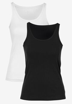2-Pack Ribbed Knit Tank Top by ellos®, BLACK WHITE, hi-res