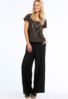 Wide Leg Soft Pants by ellos®, BLACK