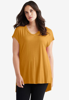 High/Low V-Neck Tee by ellos®, CRYSTAL HONEY