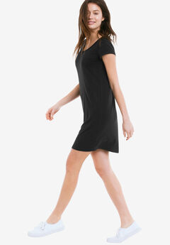 Short Sleeve Tee Dress by ellos®, BLACK, hi-res