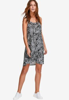 Crossover Tank Dress by ellos®, BLACK WHITE FERN PRINT, hi-res