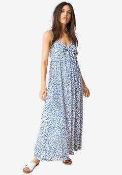 Knit Maxi Dress with Tie-Bodice,