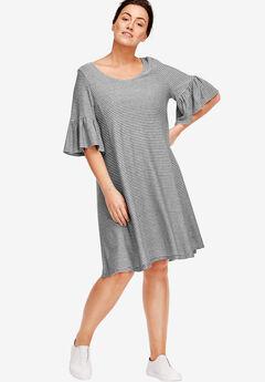 Flounced Knit Dress by ellos®, BLACK WHITE STRIPE, hi-res