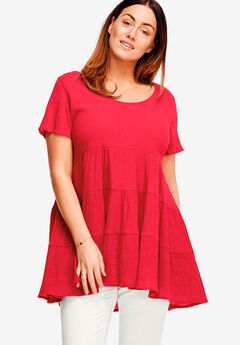 Tiered Gauze Tunic by ellos®, POPPY RED, hi-res