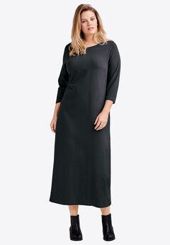 3/4 Sleeve Knit Maxi Dress by ellos®, BLACK