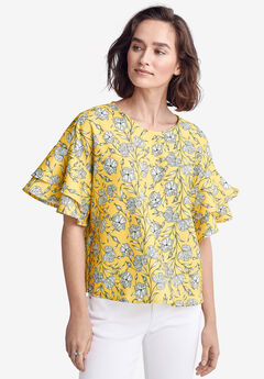 Flutter Sleeve Boxy Blouse by ellos®,