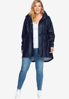 Hooded Anorak Raincoat by ellos®, NAVY