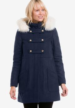 Faux Fur Trim Wool-Blend Coat by ellos®, NAVY