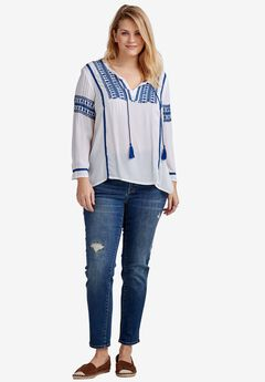 Embroidered Crinkle Blouse by ellos®, WHITE, hi-res
