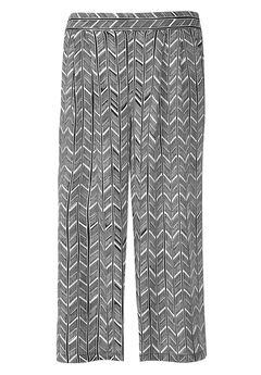 Cropped Soft Wide Leg Pants by ellos®, BLACK WHITE PRINT, hi-res