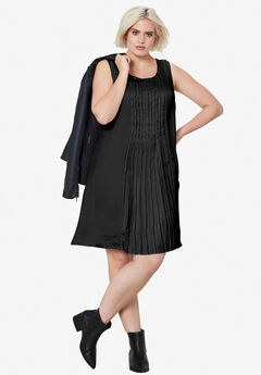 Pleated Sleeveless Dress by ellos®, BLACK, hi-res