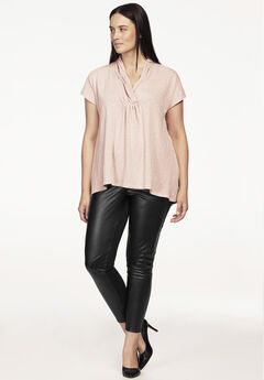 Faux Leather Front Ponte Leggings by ellos®,