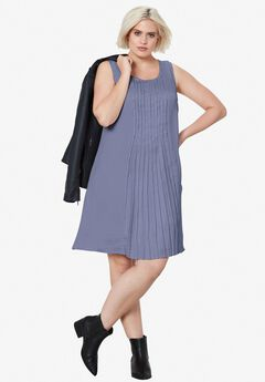 Pleated Sleeveless Dress by ellos®,