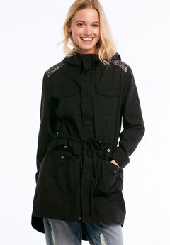 28897e01116 Hooded Sequin Shoulder Trim Twill Anorak by ellos®