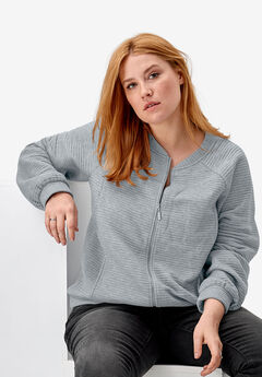 Ribbed Bomber Jacket by ellos®, HEATHER GREY