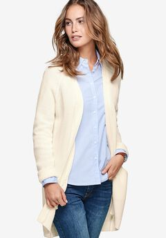 Ribbed Open Cardigan Sweater by ellos®, IVORY, hi-res