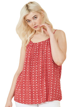 Pleat-Front Tank by ellos®, CLASSIC RED BANDANA PRINT, hi-res