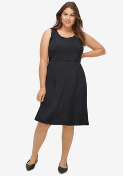 Fit and Flare Knit Dress by ellos®, BLACK
