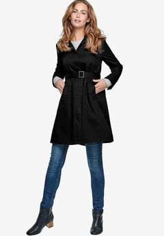 Belted A-Line Trench Coat by ellos®, BLACK
