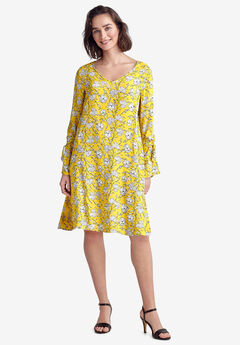 Tie-Sleeve A-Line Dress by ellos®, PRIMROSE YELLOW FLORAL