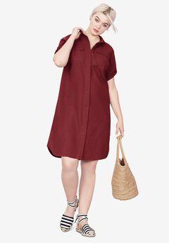 Button Front Linen Shirtdress, FRESH POMEGRANATE