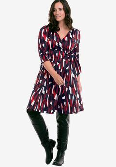 Sophia Wrap Dress by ellos®, BLACK MULTI PRINT, hi-res