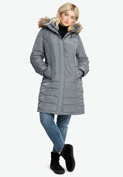 Faux Fur Trim Puffer by ellos®,