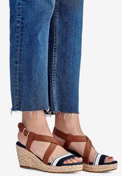 Contrast Strap Wedge Sandal by ellos®,