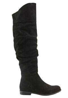 Over-the-Knee Faux Suede Slouch Boots by ellos®, BLACK, hi-res