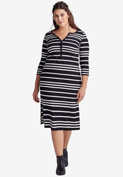 Rib Knit Henley Dress by ellos®,