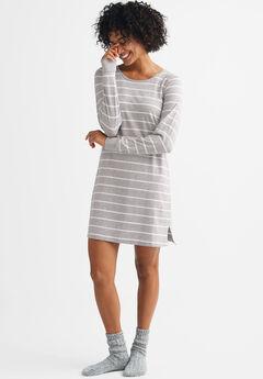 Striped Sleepshirt by ellos®, HEATHER GREY WHITE STRIPE, hi-res
