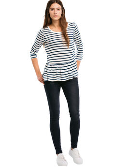 Venice Peplum Tee by ellos®, NAVY/WHITE STRIPE, hi-res