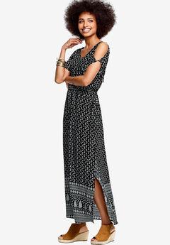 Border Print Maxi Dress by ellos®, BLACK PAISLEY PRINT