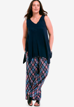 Pleated Wide Leg Knit Pants,